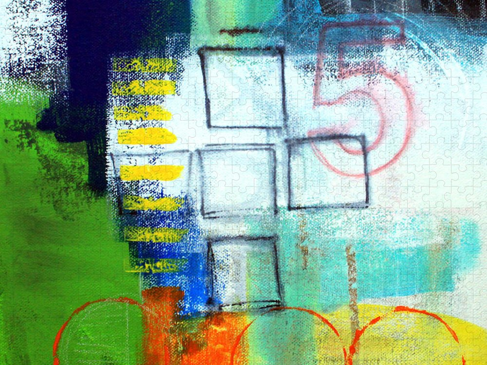 Abstract Puzzle featuring the painting Playground by Linda Woods