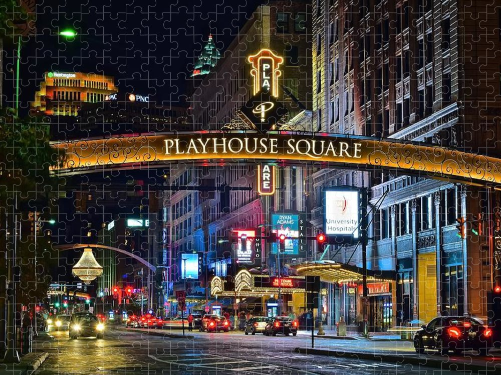 Cleveland Puzzle featuring the photograph Playhouse Square by Frozen in Time Fine Art Photography