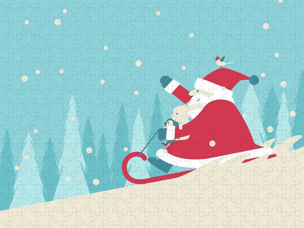 Holiday Puzzle featuring the digital art Playing Snow Sled by Akindo