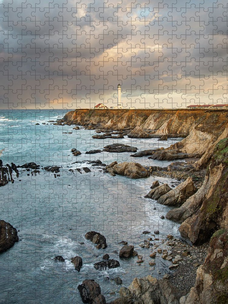 Headland Puzzle featuring the photograph Point Arena Headland And Lighthouse by Kjschoen