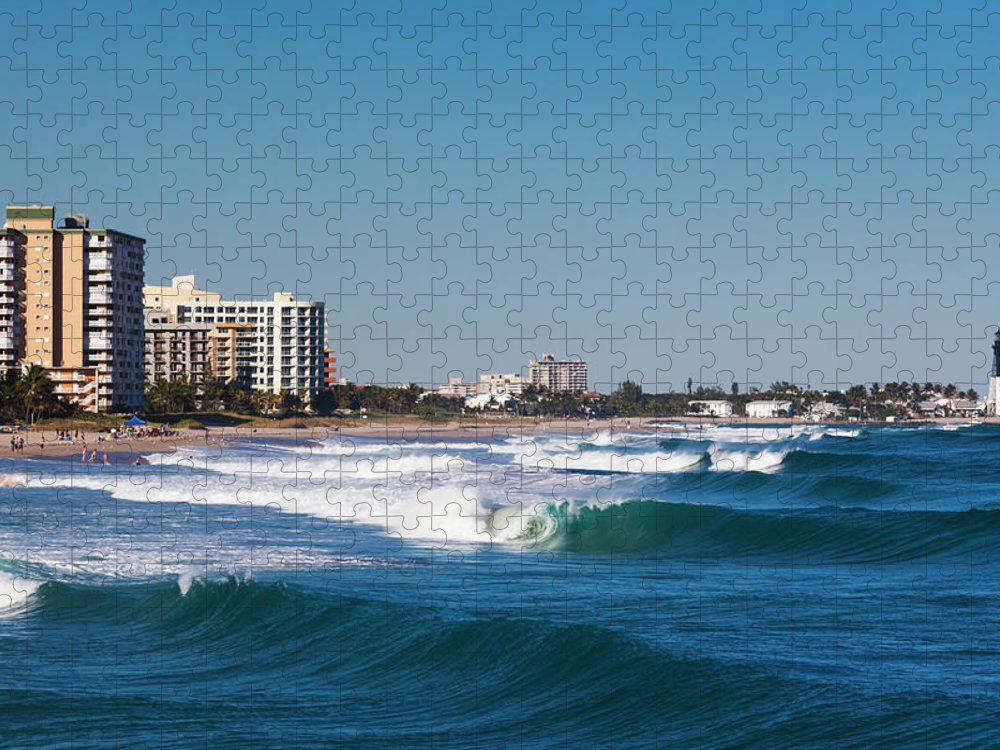 Tranquility Puzzle featuring the photograph Pompano Beach, Florida, Exterior View by Walter Bibikow