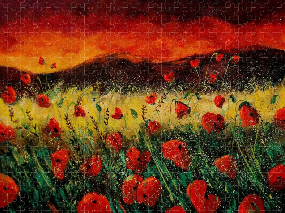 Poppies Puzzle featuring the painting Poppies 68 by Pol Ledent