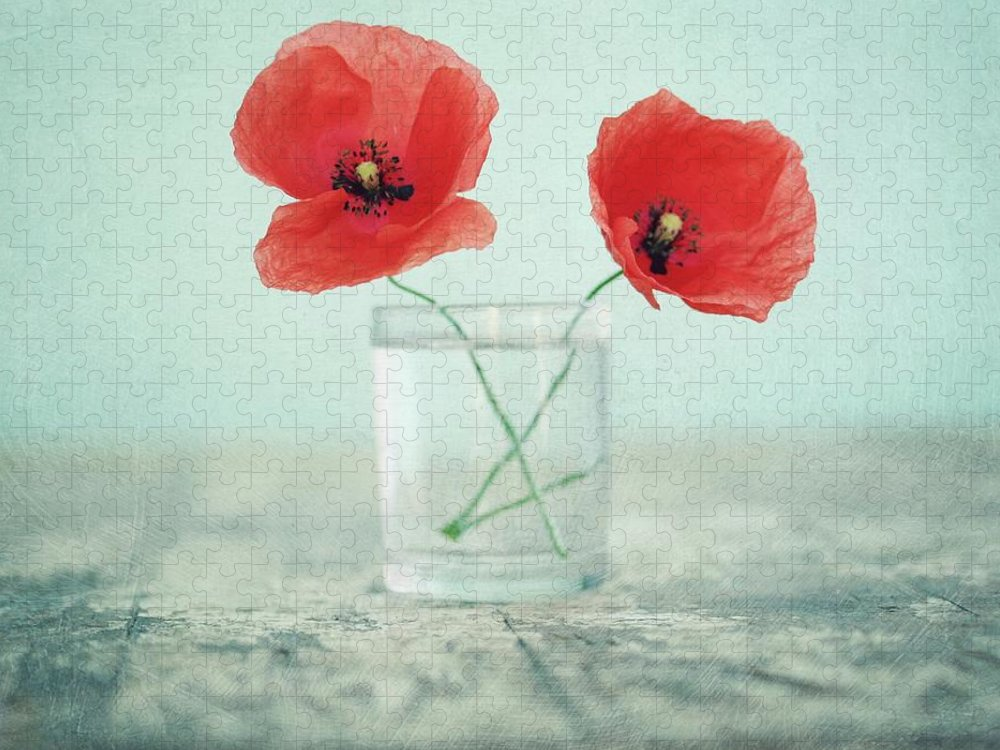 Bulgaria Puzzle featuring the photograph Poppies In A Glass, Still Life by By Julie Mcinnes