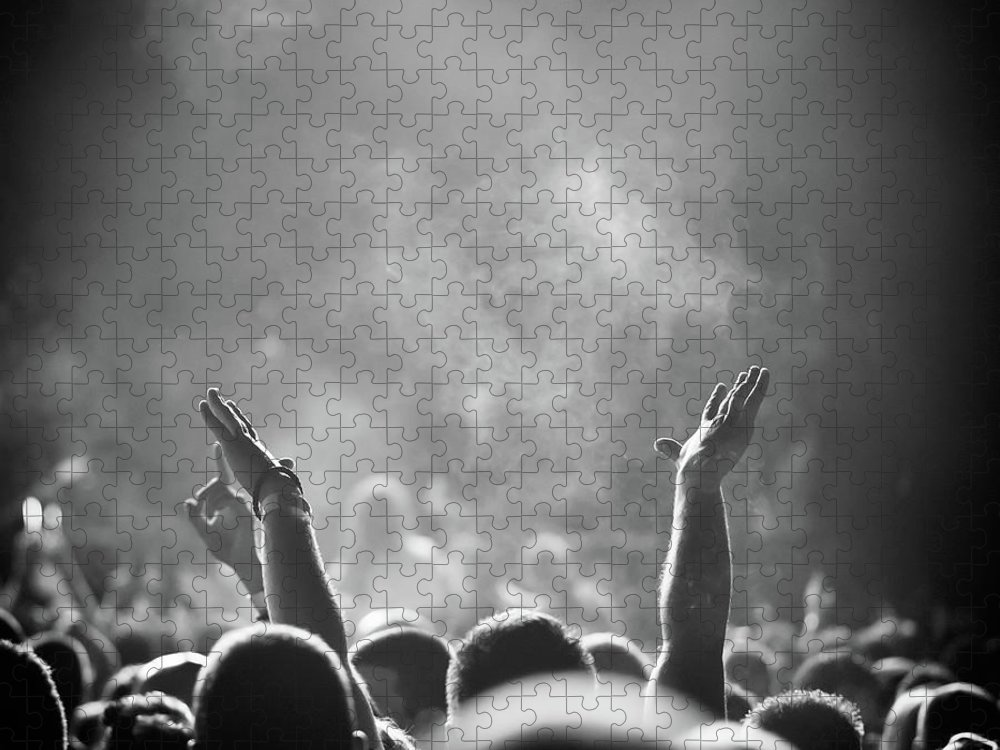 Rock Music Puzzle featuring the photograph Popular Music Concert by Alenpopov