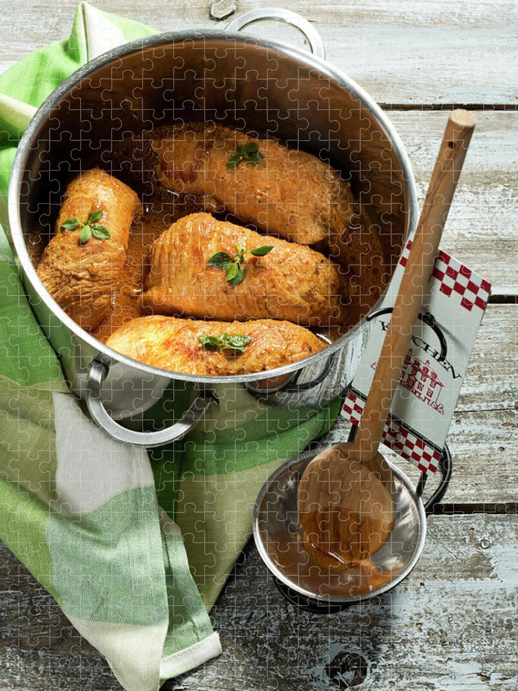 German Food Puzzle featuring the photograph Pork Roulades With Napkin And Wooden by Westend61