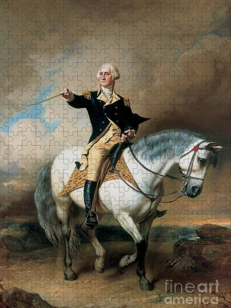 Portrait; War; Full Length; Equestrian; Salute; Saluting; Trenton; History; Historical; Heroic; Horse; Mounted; Horseback; Riding; Commander; Independence; President; Politician; Statesman; Us; Usa; United States; America; American; Leader; George Washington; Landscape; Sword; Uniform; Uniformed; Dramatic; Leadership; Strength; Power; 18th Puzzle featuring the painting Portrait of George Washington Taking The Salute At Trenton by John Faed