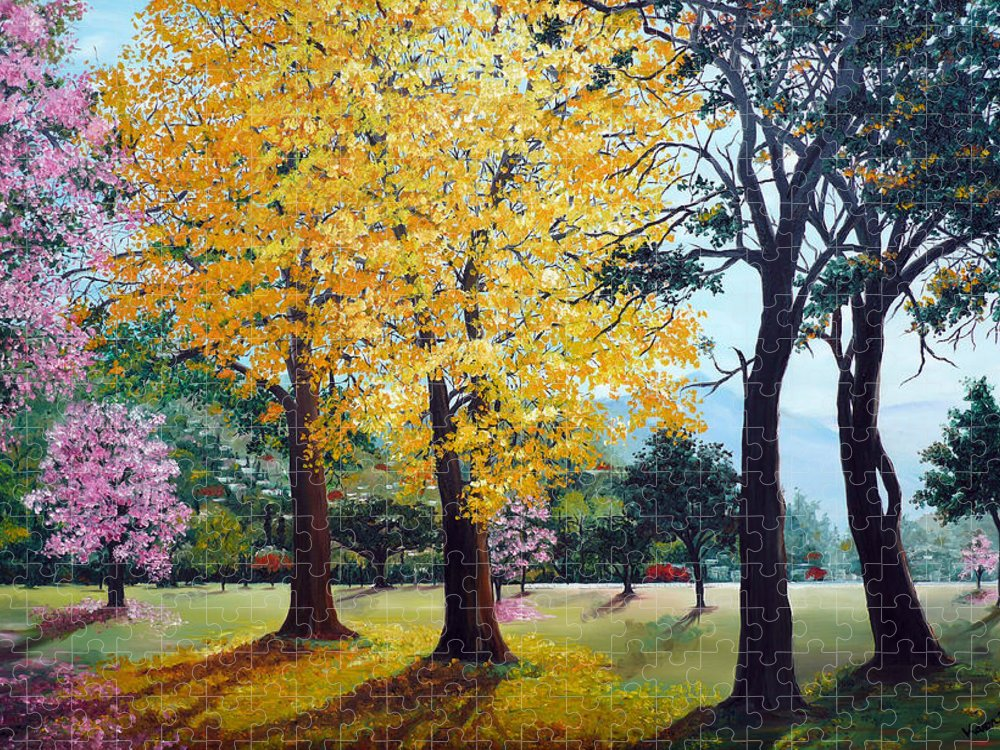 Tree Painting Landscape Painting Caribbean Painting Poui Tree Yellow Blossoms Trinidad Queens Park Savannah Port Of Spain Trinidad And Tobago Painting Savannah Tropical Painting Puzzle featuring the painting Poui Trees in the Savannah by Karin Dawn Kelshall- Best