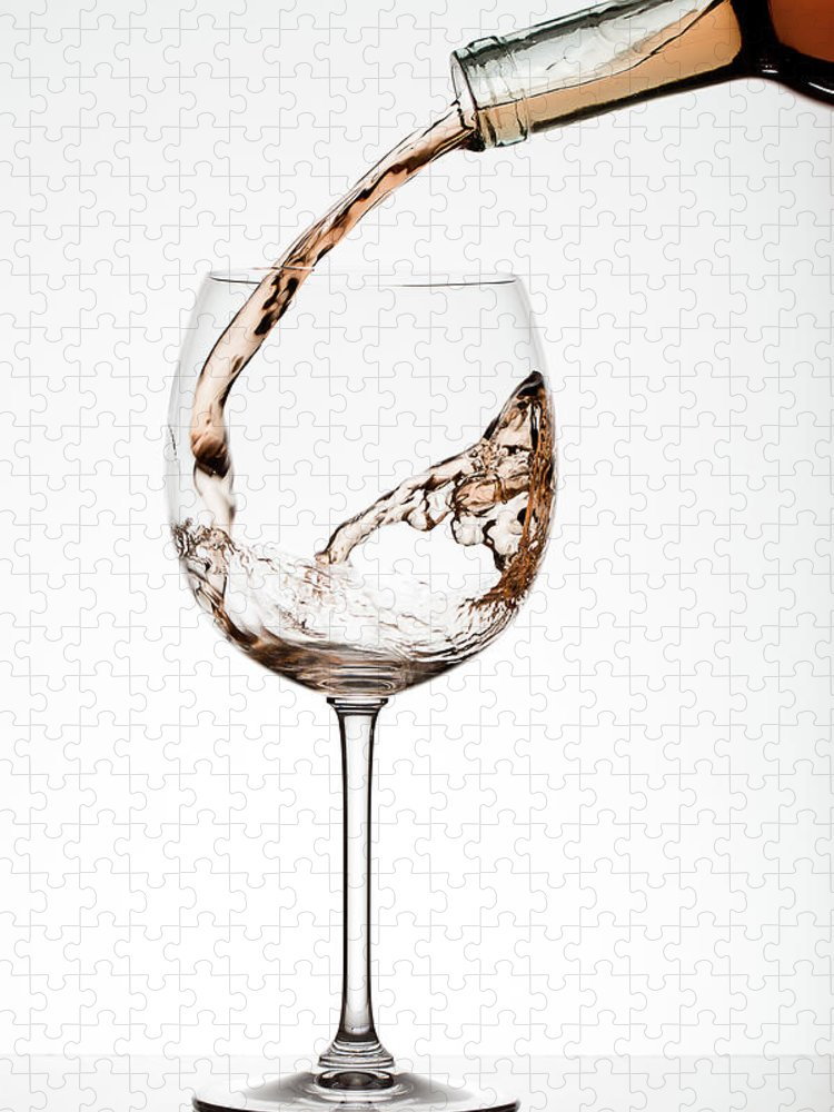 White Background Puzzle featuring the photograph Pouring Wine by Timothy L. Tichy
