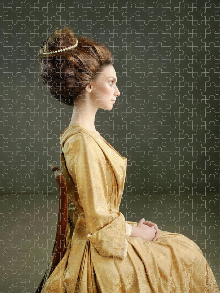 Three Quarter Length Puzzle featuring the photograph Profile Of A Woman In 18th Century by Zena Holloway