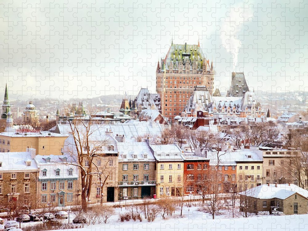 Snow Puzzle featuring the photograph Quebec City Winter Skyline With Chateau by Nicolasmccomber
