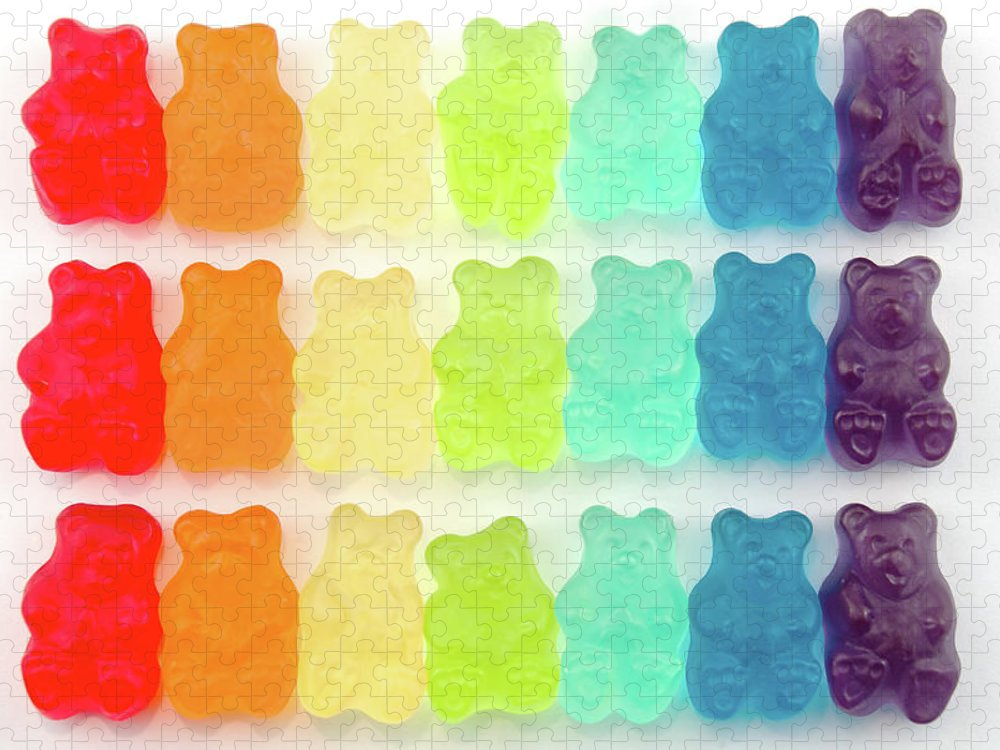 Order Puzzle featuring the photograph Rainbow Jelly Bear Candy by Melissa Ross