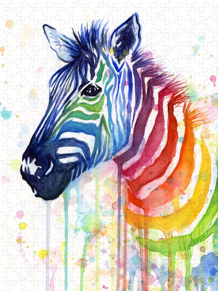 Rainbow Puzzle featuring the painting Rainbow Zebra - Ode to Fruit Stripes by Olga Shvartsur