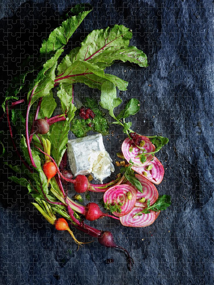 Cheese Puzzle featuring the photograph Raw Beeet Salad Ingredients by Annabelle Breakey