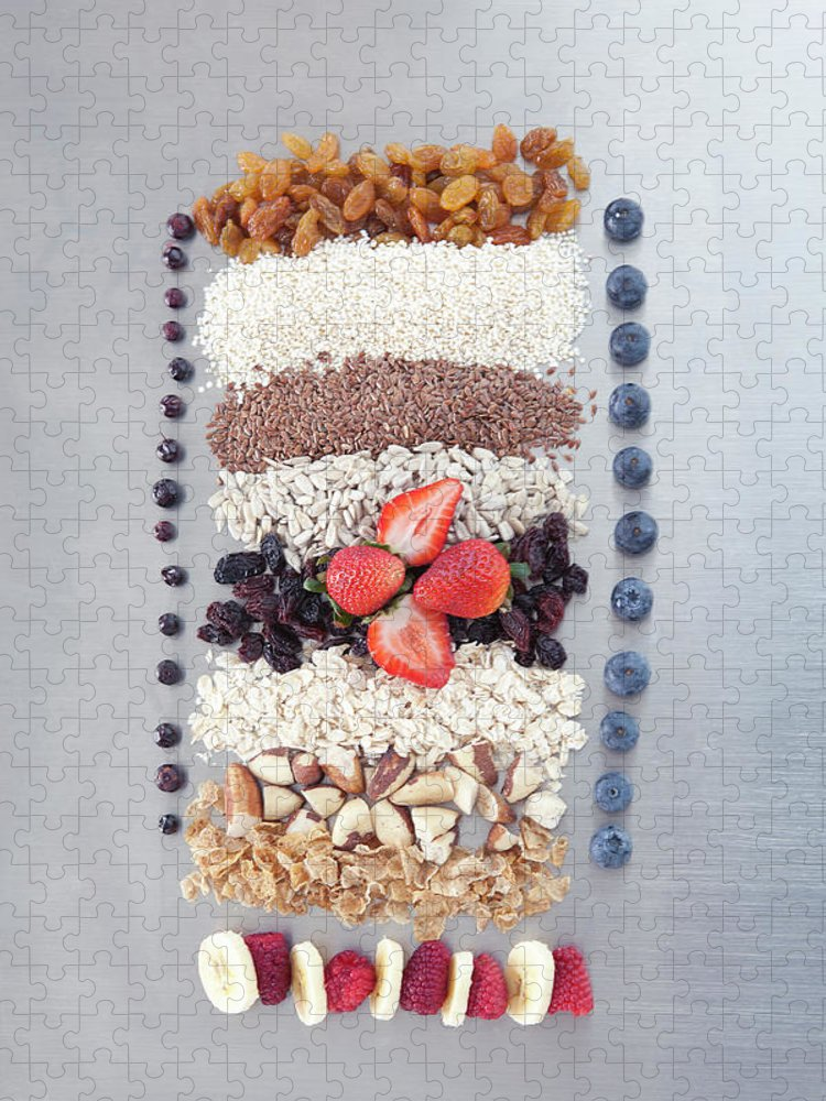 Nut Puzzle featuring the photograph Raw Nuts, Fruit And Grains by Laurie Castelli