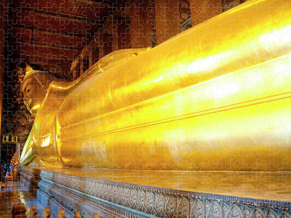 Statue Puzzle featuring the photograph Reclining Buddha, Wat Pho by Leontura