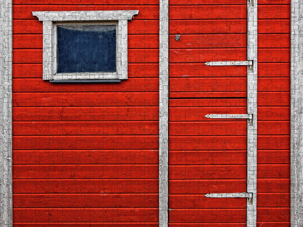 Built Structure Puzzle featuring the photograph Red Door And Window With White Frames - by Makasu