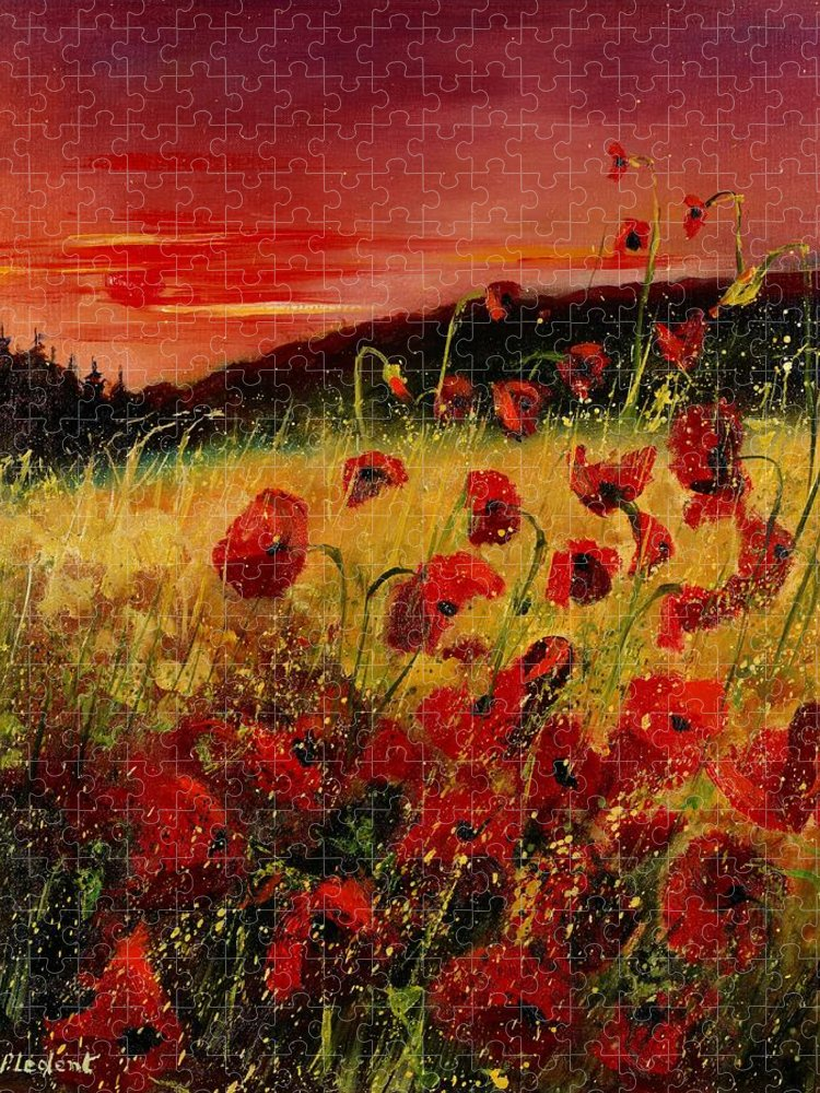 Poppies Puzzle featuring the painting Red poppies and sunset by Pol Ledent