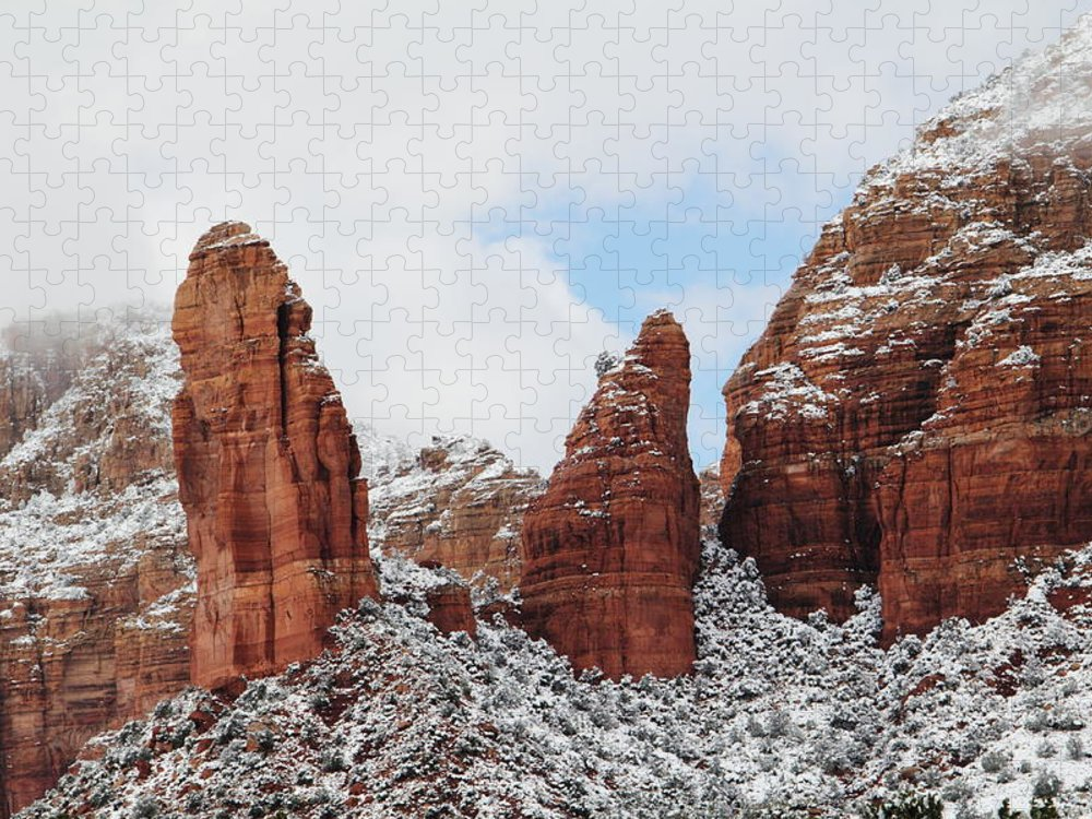 Scenics Puzzle featuring the photograph Red Rock Snow Sedona by Sassy1902