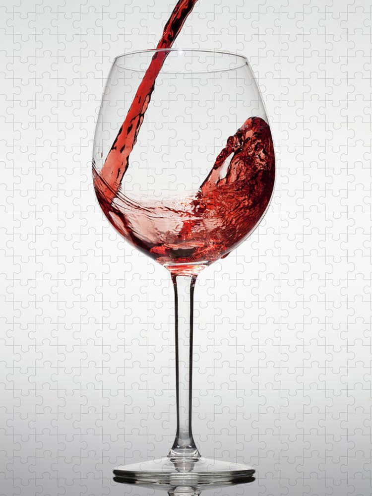 Alcohol Puzzle featuring the photograph Red Wine Being Poured Into A Glass by Dual Dual