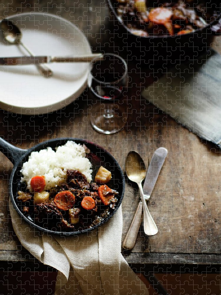 Spoon Puzzle featuring the photograph Red Wine Braised Beef by 200