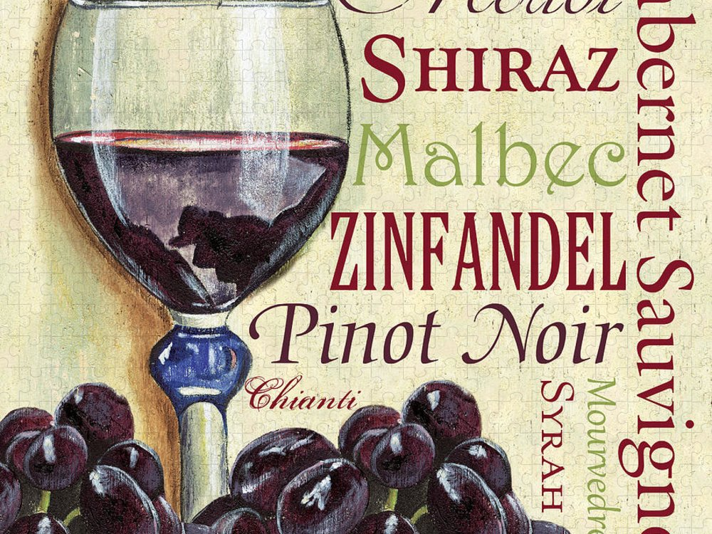 Wine Puzzle featuring the painting Red Wine Text by Debbie DeWitt