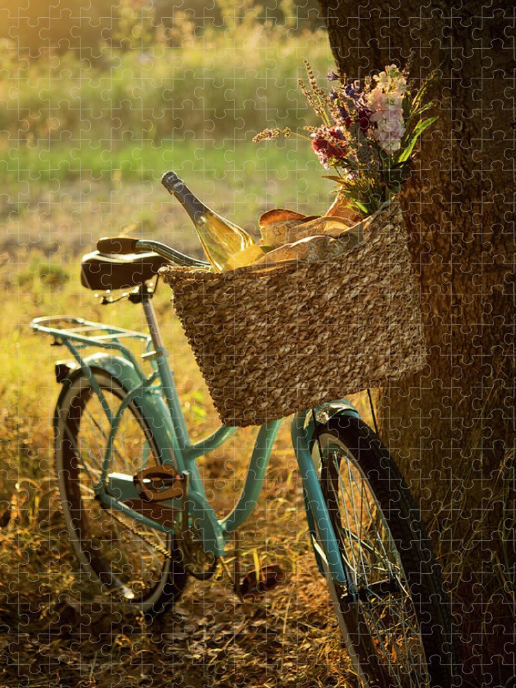 Grass Puzzle featuring the photograph Retro Bicycle With Wine In Picnic by Nightanddayimages