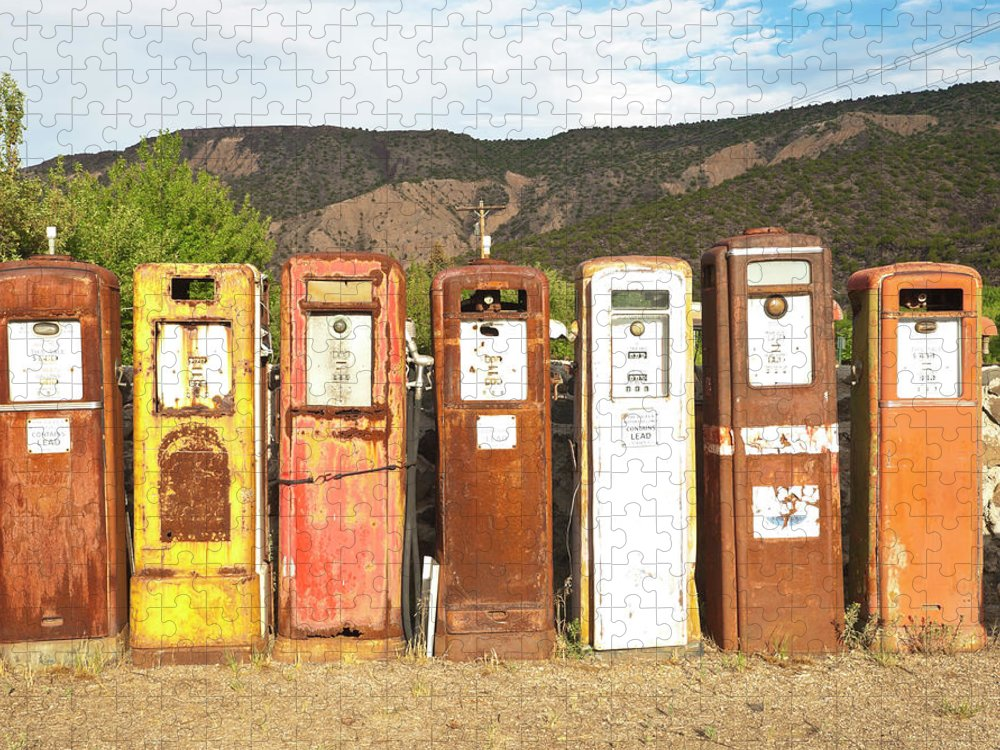 Home Decor Puzzle featuring the photograph Retro Gas Pumps In Outdoor Museum Nm by Helovi