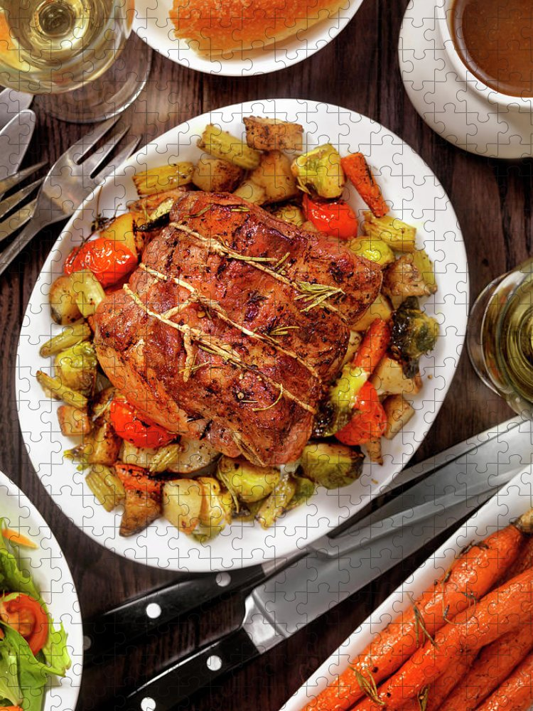 Gravy Puzzle featuring the photograph Roasted Pork Loin Roast Dinner by Lauripatterson