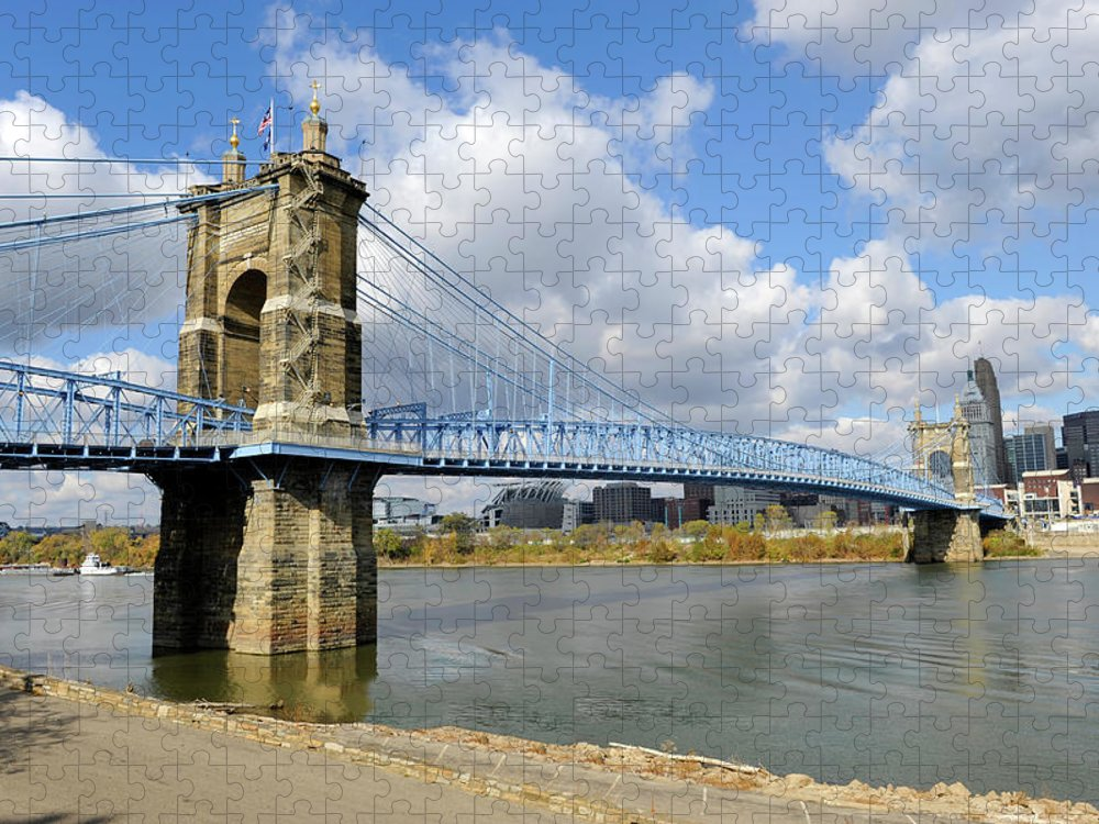 Suspension Bridge Puzzle featuring the photograph Roebling Suspension Bridge by Dennis Macdonald