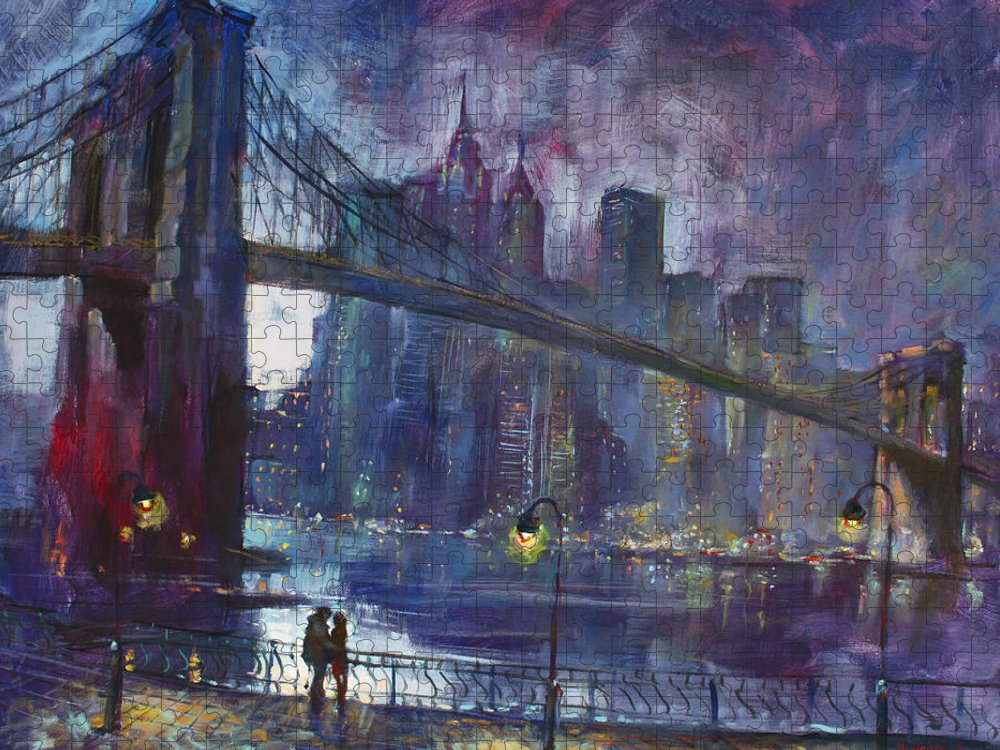 Brooklyn Bridge Puzzle featuring the painting Romance by East River NYC by Ylli Haruni