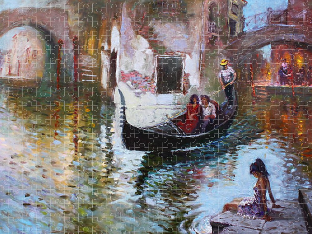 Romance Puzzle featuring the painting Romance in Venice 2013 by Ylli Haruni