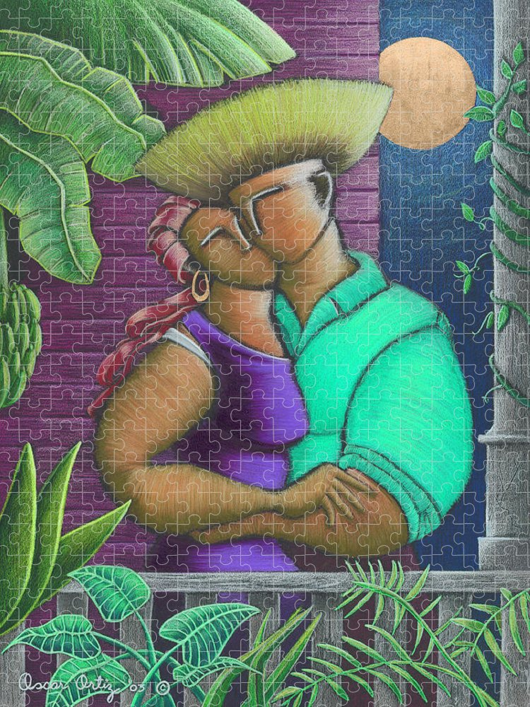 Puerto Rico Puzzle featuring the painting Romance Jibaro by Oscar Ortiz