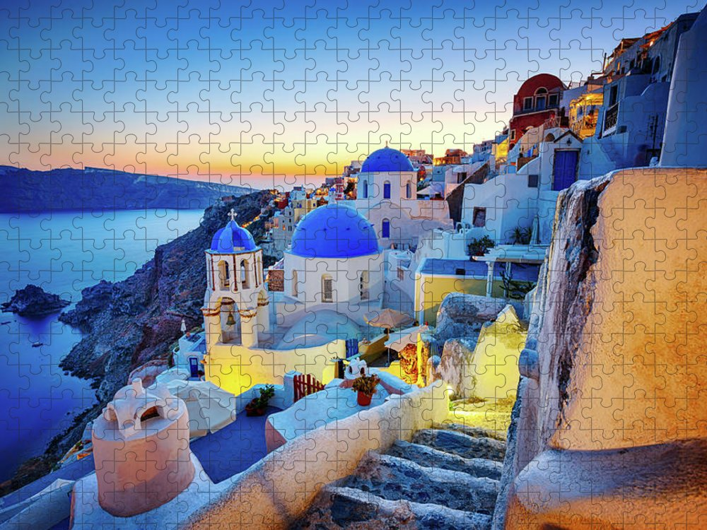 Greek Culture Puzzle featuring the photograph Romantic Travel Destination Oia by Mbbirdy
