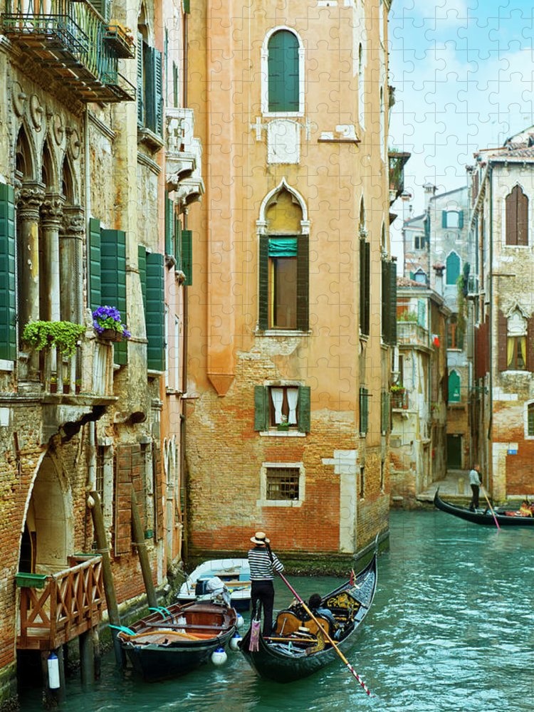 Heterosexual Couple Puzzle featuring the photograph Romantic Venice Views From Gondola by Caracterdesign