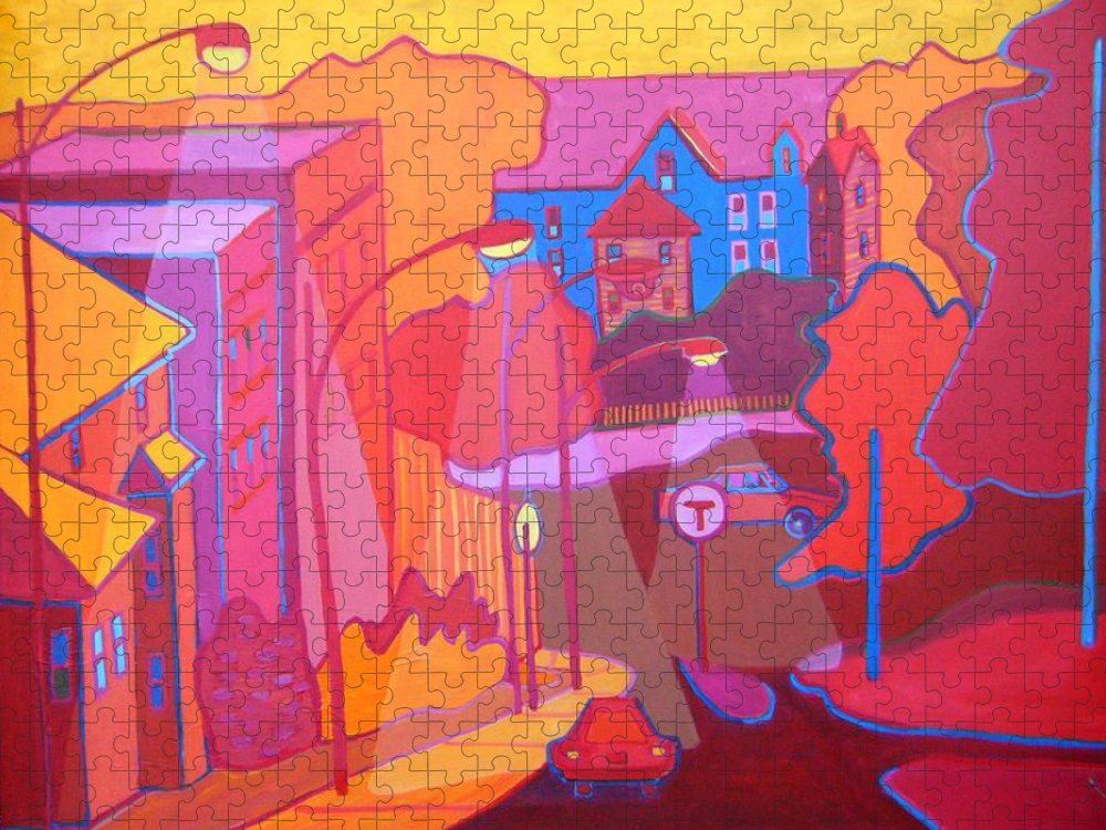 Cityscape Puzzle featuring the painting Roslindale Never Looked so Red by Debra Bretton Robinson
