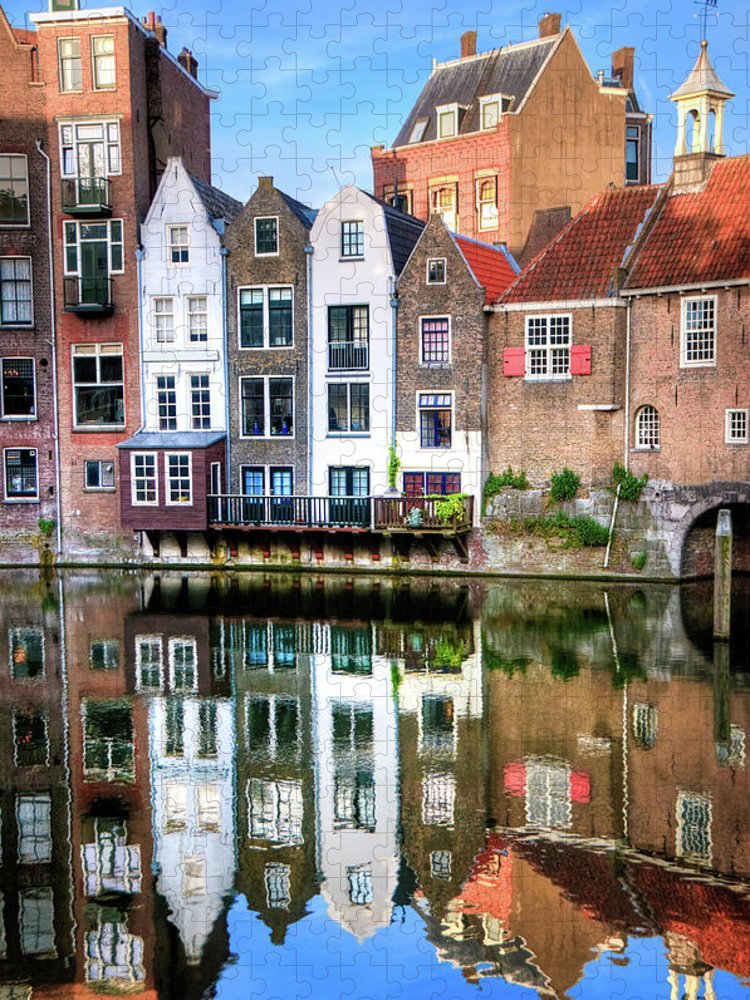 Dawn Puzzle featuring the photograph Rotterdams Delfshaven With His Historic by Aleksandargeorgiev