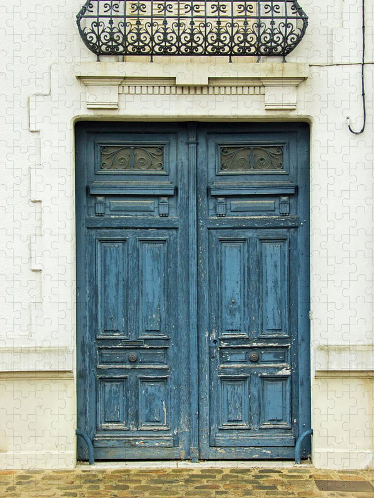 Residential District Puzzle featuring the photograph Rustic Blue Wooden Door In Colonial by Edelstoff