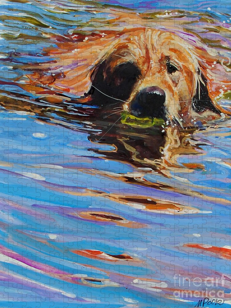 Golden Retriever Puzzle featuring the painting Sadie Has A Ball by Molly Poole