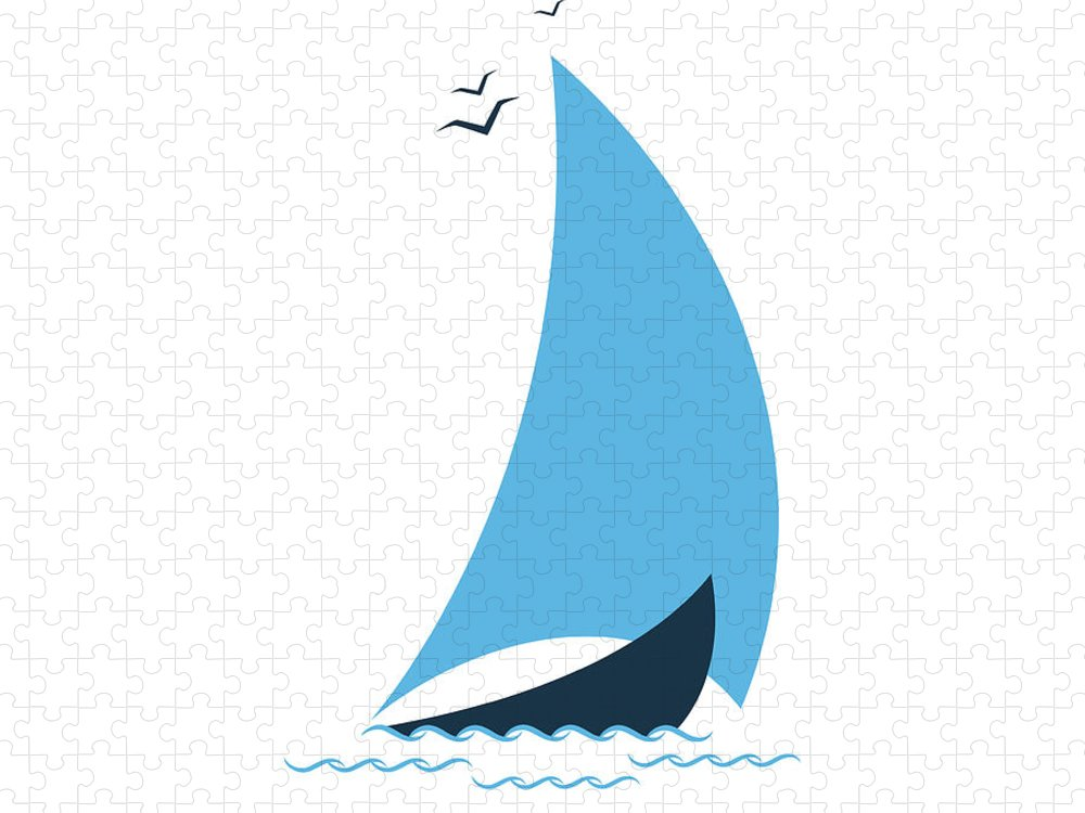 Curve Puzzle featuring the digital art Sailboat In The Sea. Concept For The by Liubov Trapeznykova