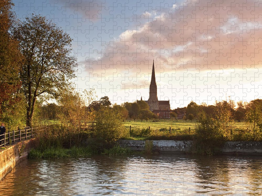 Tranquility Puzzle featuring the photograph Salisbury Cathedral And The River Avon by Julian Elliott Photography