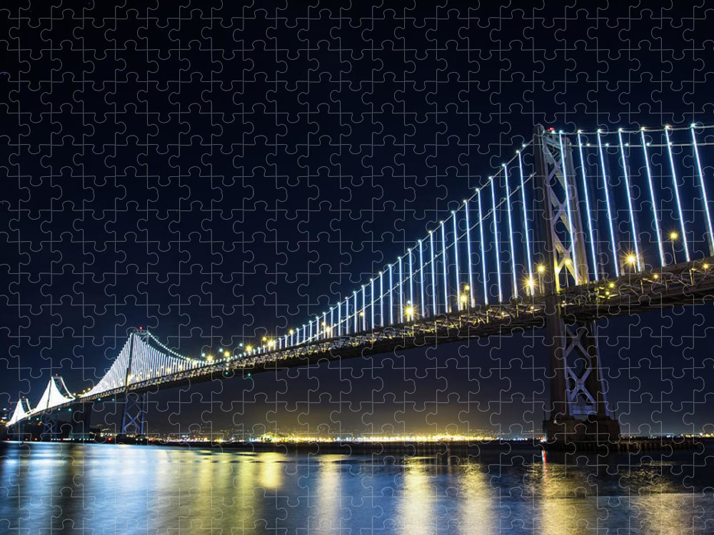 California Puzzle featuring the photograph San Francisco Bay Bridge With Led Lights by Halbergman