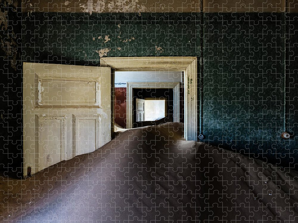 Sand Dune Puzzle featuring the photograph Sand Dune In Door Frame Of Abandoned by Pixelchrome Inc