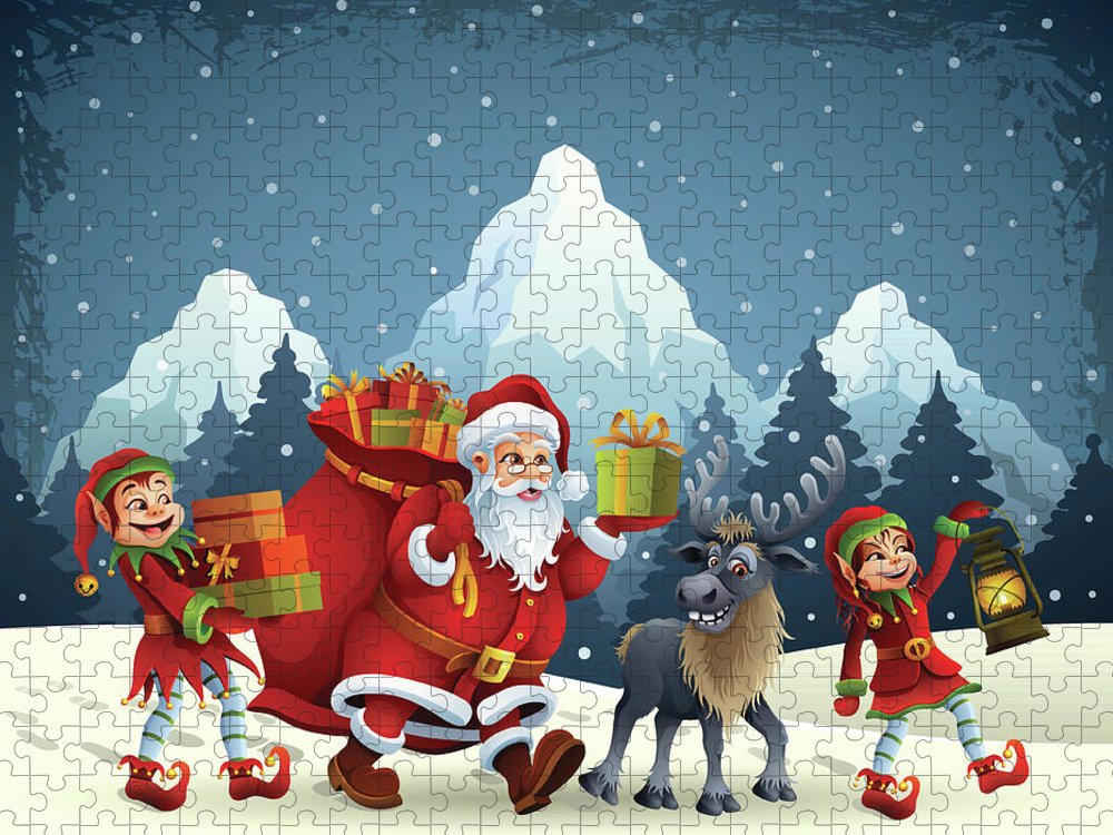 Scenics Puzzle featuring the digital art Santa Claus Is Coming by Alonzodesign