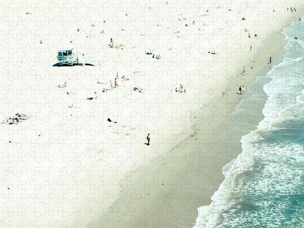 Water's Edge Puzzle featuring the photograph Santa Monica Beach by Angela Auclair