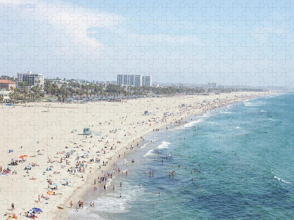 Crowd Puzzle featuring the photograph Santa Monica Beach by Tuan Tran