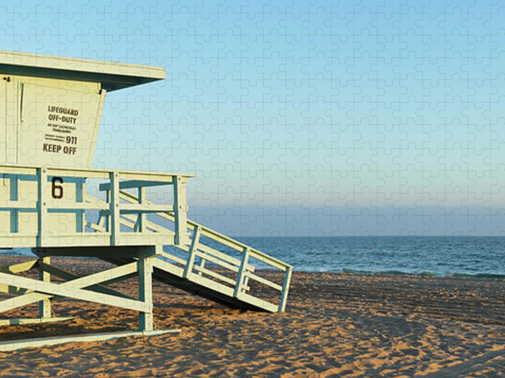 Water's Edge Puzzle featuring the photograph Santa Monica Lifeguard Station by S. Greg Panosian