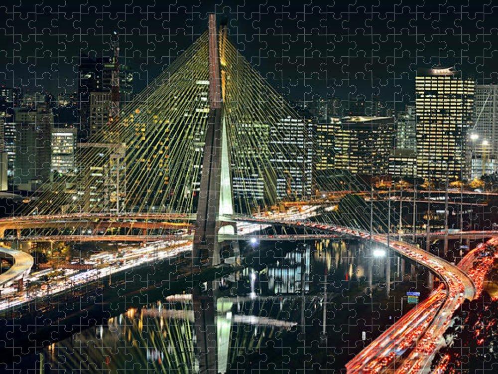 Panoramic Puzzle featuring the photograph Sao Paulo - Ponte Estaiada Sao Paulo by Carlos Alkmin