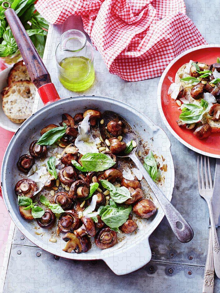 Italian Food Puzzle featuring the photograph Sauteed Mushrooms With Basil Pesto by Brett Stevens