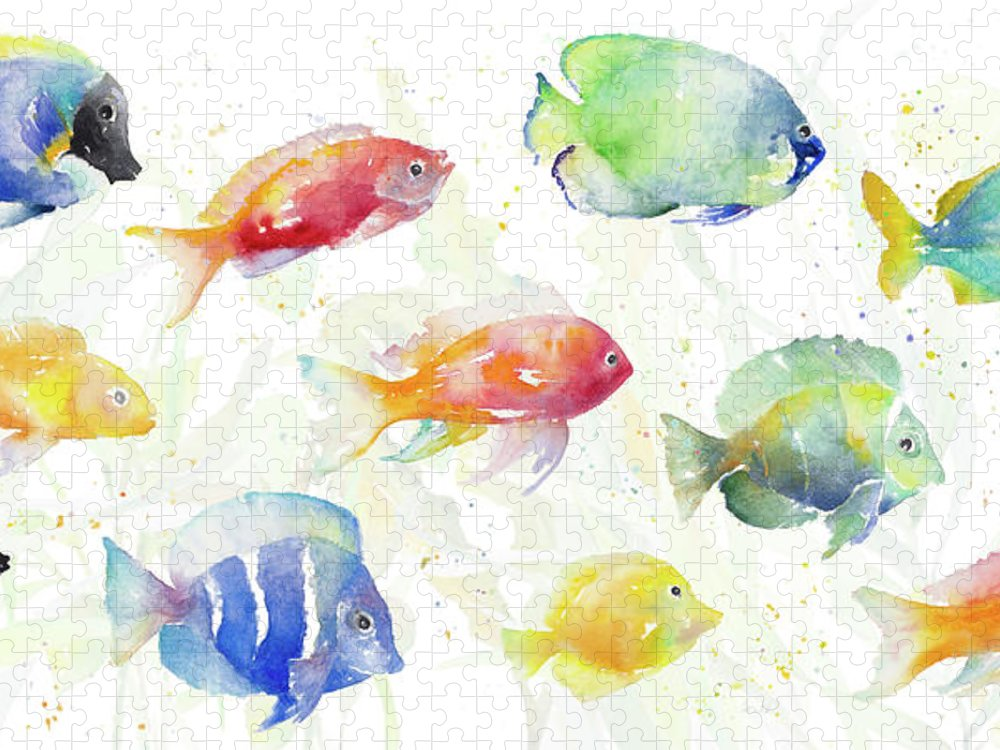 School Puzzle featuring the painting School Of Tropical Fish by Lanie Loreth