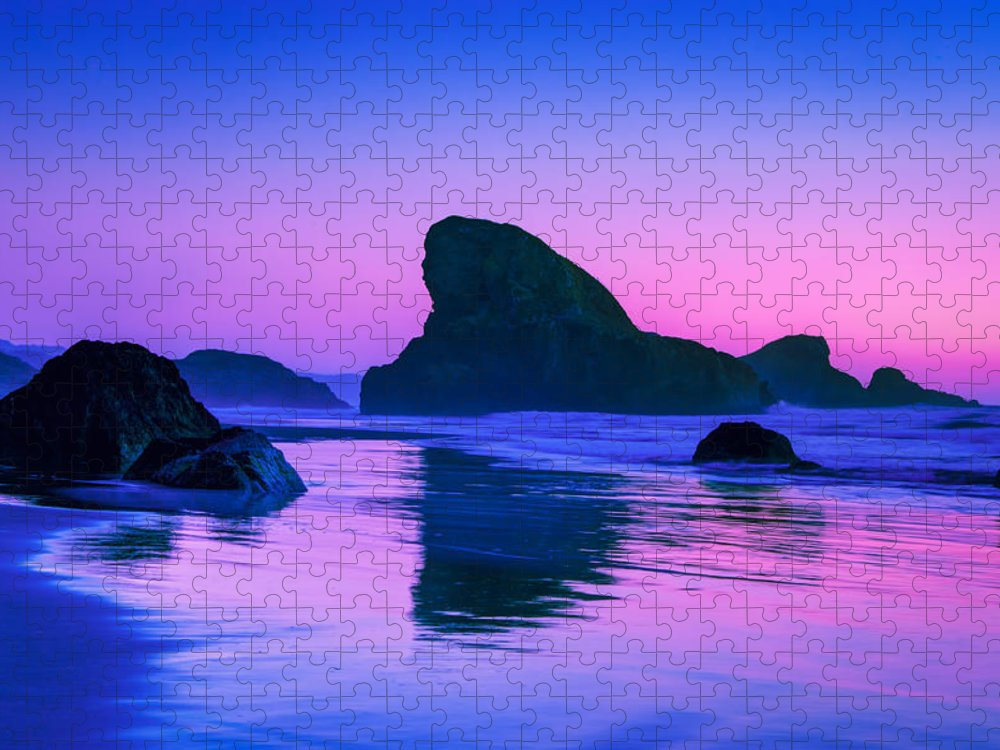 Meyers Creek Beach Puzzle featuring the photograph Sea Stacks on the Oregon Coast by Rich Leighton